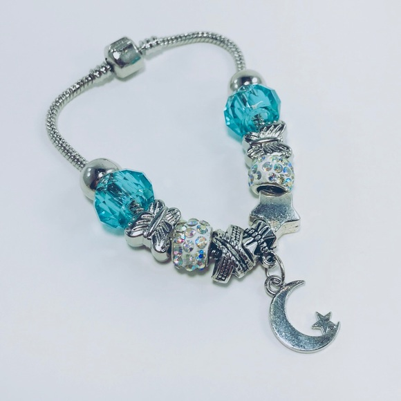 Jewelry - Silver bracelet with turquoise crystal moon charm